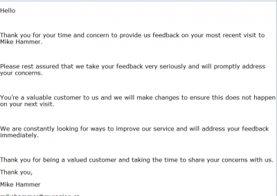 Automated email to the customer after leaving a negative review. It's best to contact that customer as soon as possible, to address their concerns in detail.