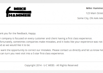 The Thank You page will wrap up this review cycle; you can change this page to say anything you want.